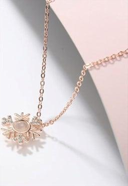 Miillow with diamond snowflake Christmas necklace