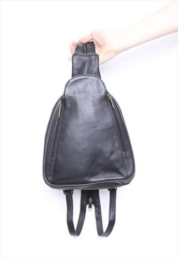 Vintage 90s Black Leather Rucksack Backpack Bag