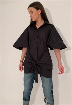 Oversized Shirt Casual Black Top Loose Blouse F1863