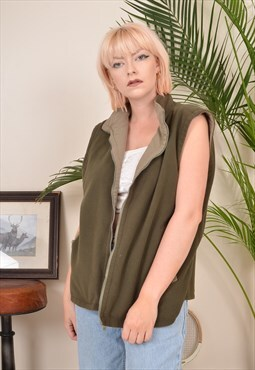 Vintage 90s Reversible Fleece Gilet Jacket Green