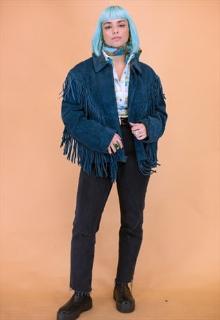 Vintage Suede Fringed Leather Jacket in Petrol Blue