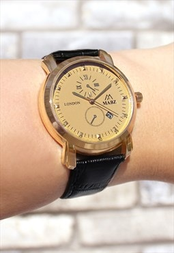 Classic Gold Dial Watch with Date