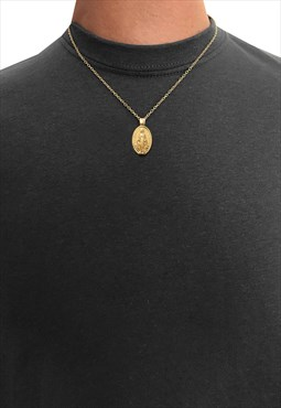 "20"" God Jesus Mary Oval Pendant Necklace Chain - Gold"