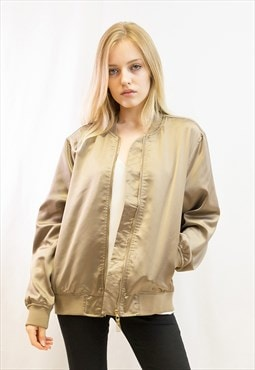 Plain color Oversized relaxed fit  satin Bomber Jacket Gold