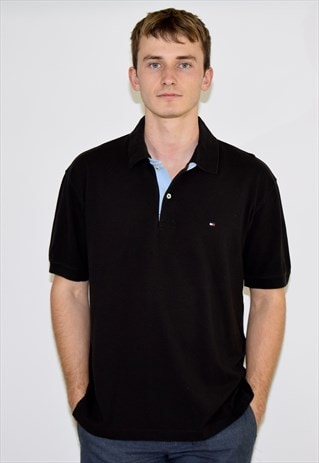 VINTAGE BLACK TOMMY HILFIGER 90S POLO SHIRT