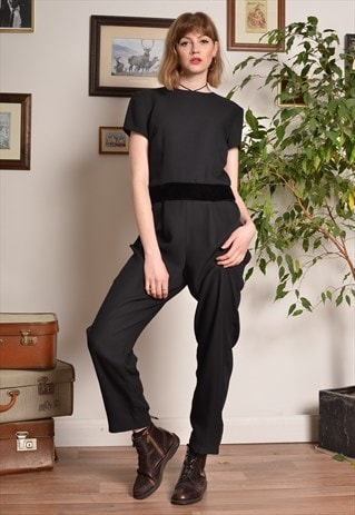 Vintage Jumpsuit in Black with Velvet Waistband