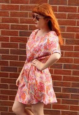 Vintage 80s Linen Mini Dress Pink Floral Print With Pockets