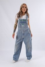 Vintage LIBERTY Denim Dungarees Wide Leg UK 14 L (75F)