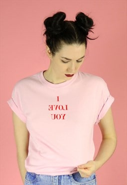 I Love You MIRROR IMAGE Narcissist Self T-shirt Red on Pink