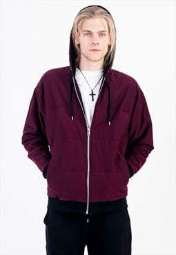 Zipped and Quilted Design Hoodie in Oxblood