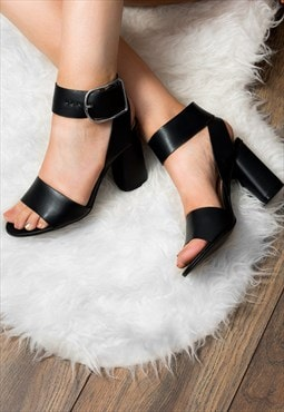 STACEY Wide Fit Block Heel Sandals Shoes - Black Leather