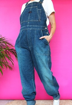 Dark Blue Denim Straight Leg Dungarees
