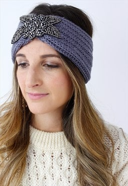 Blue Grey Silver Beaded Ribbed Knitted Turban Headband