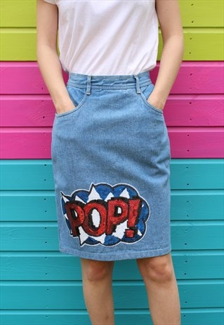 VINTAGE REWORKED BLUE DENIM FESTIVAL MIDI SKIRT SEQUIN BADGE