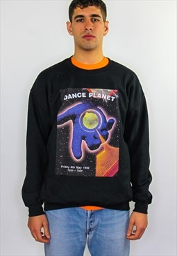 Dance Planet May graphic print 90s rave flyer sweater black