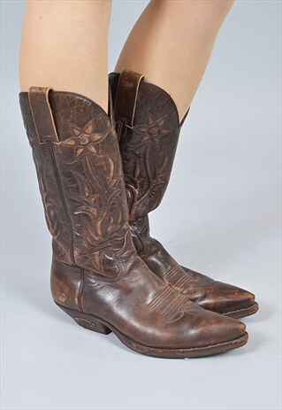 VINTAGE MAHOGANY BROWN LEATHER COWBOY BOOTS