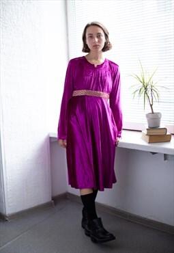 Vintage 80's Midi Hot Pink Velvet Long Sleeved Dress