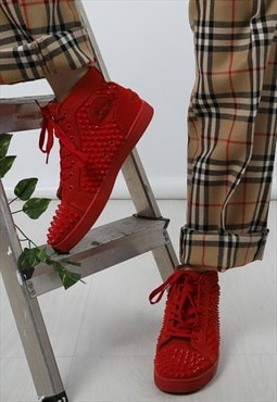 Vintage Christian Louboutin Spike Red High Top Suede Trainer