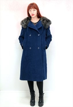 1980s vintage blue wool faux fur collar double breasted coat