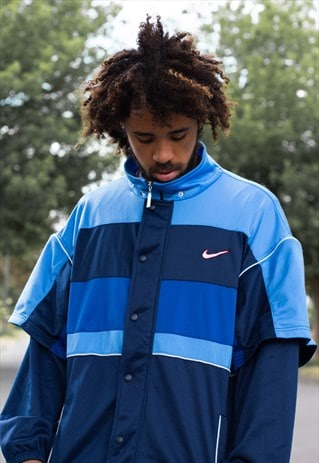 VINTAGE 90'S NIKE JACKET IN A COLOURBLOCK BLUE, NAVY AND RED