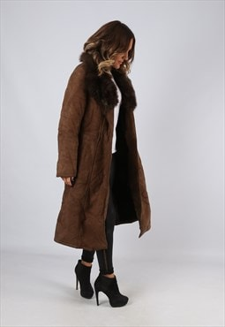 Sheepskin Suede Leather Shearling Coat Long UK 14 (LJ4L)