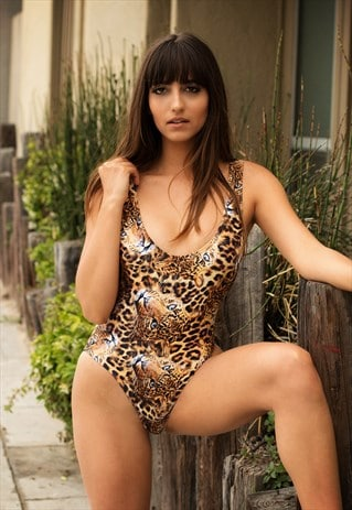 LEOPARD SWIMSUIT 80S 90S HIGH HIP