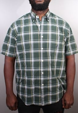 Mens Vintage Nautica Green Short Sleeve Checked Shirt