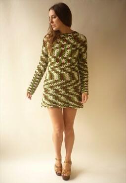 1970's Vintage Hand Crochet Knitted Bohemian Mini Dress