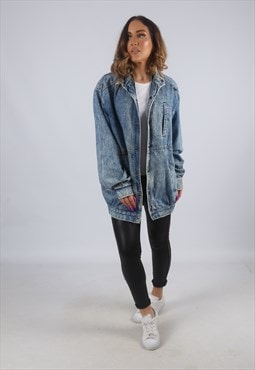Vintage Denim Jacket Long Bomber ACID WASH UK 10 (KBJ)