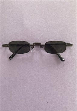 Small square 90's style sunglasses in gun metal