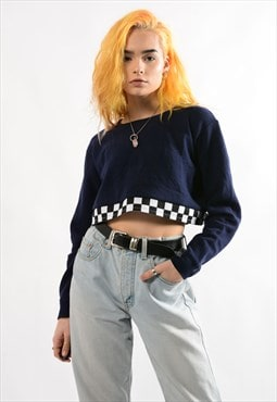 Retro Navy Cropped Sweatshirt