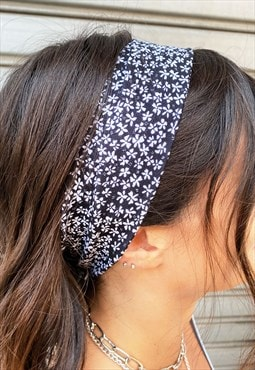 Cotton headband -  black and white, floral pattern