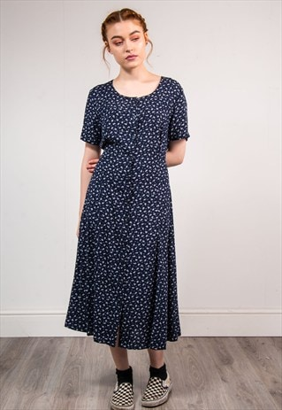 VINTAGE 90'S NAVY BLUE FLORAL CUTE SUMMER DRESS
