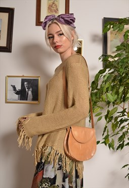 Vintage 70s Small Cross Body Strap Bag in Tan Leather