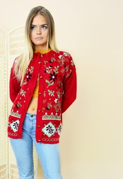 90s vintage floral knit cardigan in red