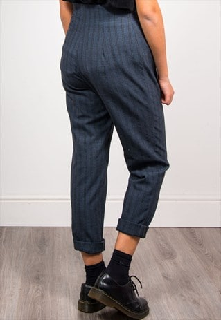 VINTAGE 90'S BLUE STRIPE TAPERED HIGH WAIST TROUSERS