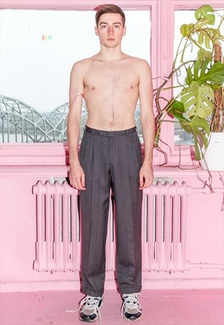 VINTAGE SKATER FIT CLASSIC TROUSERS IN GREY