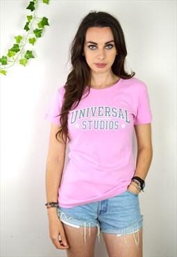 00s Vintage Pastel Pink Universal Studios Logo T Shirt