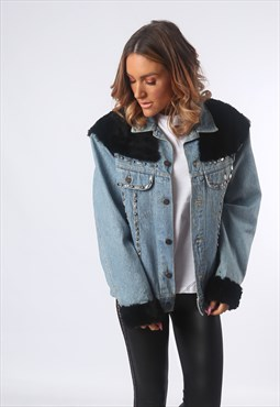 Customised Denim Jacket Oversized Faux Fur UK 16  (AE1F)