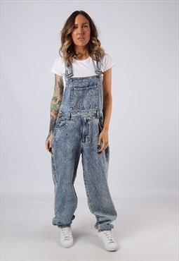 Denim Dungarees Acid Wash LONG LEG Wide Tapered UK 14 (BJCC)