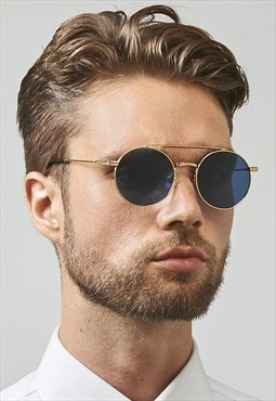 Ash Stainless Steel Round Mens Womens Sunglasses