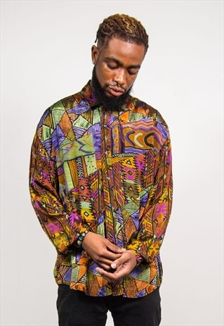 VINTAGE 90'S MULTICOLOUR ABSTRACT PATTERN LONG SLEEVE SHIRT