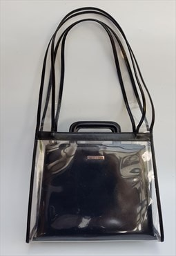 Vintage Black and Transparent Leather Shoulder / Briefcase