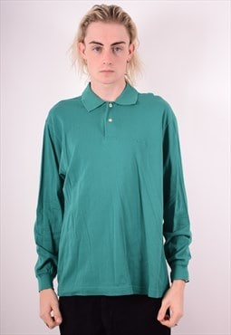 Diadora Mens Vintage Polo Shirt Long Sleeve Medium Green 90s