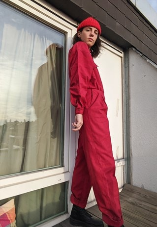 Vintage long sleeves red Jumpsuit