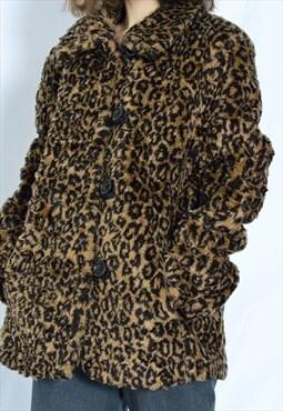 Y2K Brown Leopard Faux Fur Coat