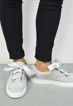 Ladies Grey Satin Lace Sneakers