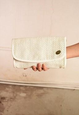 90's retro raffia straw Paris chic envelope clutch purse