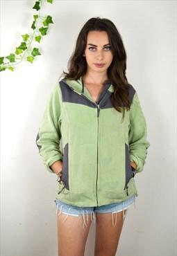 90s Vintage Green and Grey Full Zip Fleece Jacket