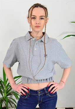 Reworked Vintage Fila Cropped Polo T-shirt in Grey